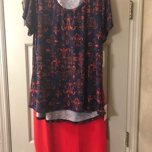 Lularoe set NWT Red Cassie Large ,XL Classic Tee